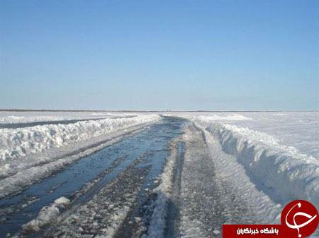 رودخانه ای که در زمستان تبدیل به جاده می شود